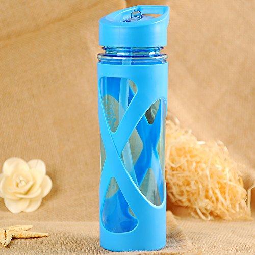 Wasserflasche Camping Kunststoff Space Cup Versiegelung Trinkgeschirr Outdoor Gesundheit Wandern 580 ml Auslaufsicher Staubdicht Anti-Kalk-Trink-Tour umweltfreundlich Silikon Kreis Free Size blau