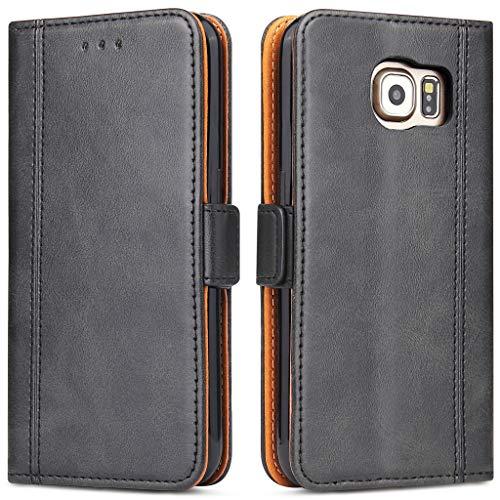 Bozon Galaxy S6 Hülle, Leder Tasche Handyhülle Flip Wallet Schutzhülle für Samsung Galaxy S6 mit Ständer und Kartenfächer/Magnetverschluss (Schwarz-Grau)