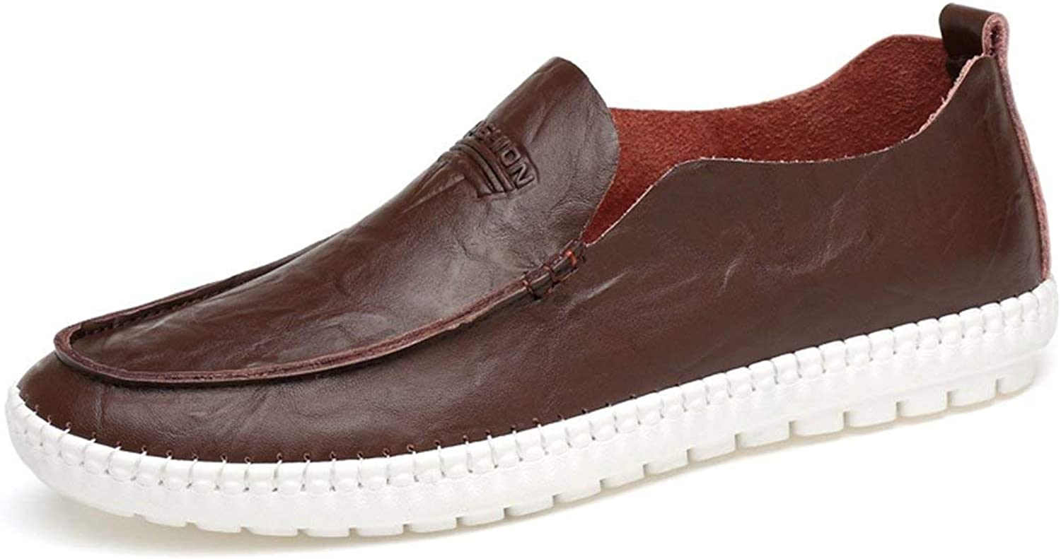 ZHRUI Boy's Men's Slip-on Rubber Sole Synthetic Casual Loafers (color   Coffee, Size   5.5 UK)