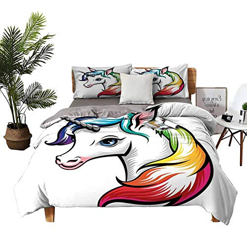 DRAGON VINES Bed Sheets Rainbow Bed Sheets Full Set Cute White Unicorn with Rainbow Colors on its Mane Blue Eyes Animal Fun Print W79 xL90 White Multicolor
