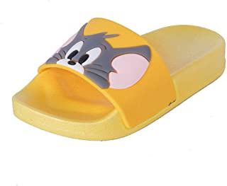 Hopscotch FEETWELL Shoes Boys and Girls Rubber Animal Applique Open Toe Flip Flop in Yellow Color