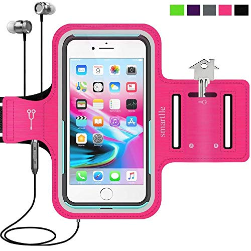 Smartlle Sportarmband für iPhone XS MAX 8 Plus 7 Plus 6/6S Plus, Galaxy S9/S8/S7 Plus, Note 8/6 LG V20 Huawei Mate 20 10 Pro. Running, Workout & Joggen Laufen Armband - Handyhalter Case(Pink)