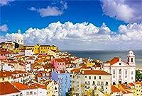 HiYash 10×6.5フィートアルファマリスボン都市の景観ビニール写真の背景赤い屋根住宅青い空白い雲ヨーロッパ建築背景風景壁紙スタジオ