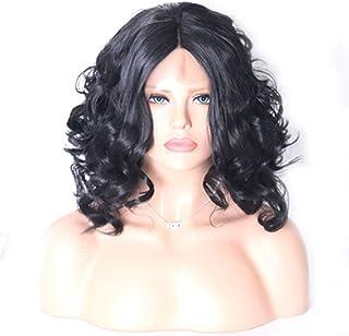 شعر مستعار قصير أسود مجعد بدانتيل أمامي من الألياف الكيميائية من إليغي
