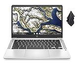 2021 Newest HP Chromebook 14-inch HD Laptop, Intel Celeron N4000 up to 2.6 GHz, 4 GB DDR4 SDRAM, 32 GB eMMC Storage, Backlit Keyboard, Webcam, WiFi 5, Bluetooth 5, Chrome OS + Oydisen Cloth
