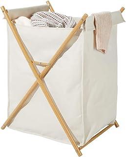 mDesign panier à linge pliable – corbeille à linge transportable pour salle de bain – bac à linge en métal et polyester av...