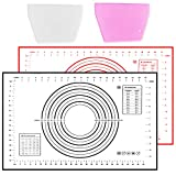 SINOBAND Silicone Baking Mat,2 Pack Non-stick Pastry Mat,Non Slip with Measurement Fondant Mat for Rolling Dough,Counter Mat,Oven Liner(60x40cm)