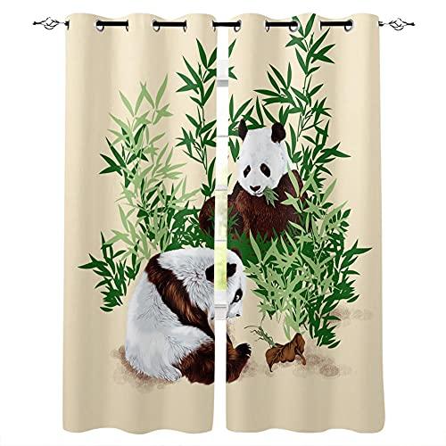 VBUEFM Cortina para Ventana Dormitorio Caqui Verde bambú Bosque Negro Animal Panda 75x166cm x2 Cortinas Impresas en 3D,Cortina Térmica Aislante con Proteccion Privacidad Cortina Opaca