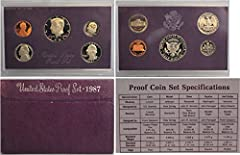 1987 US Mint Proof Set Original Box in nice shape (1) Kennedy half dollar (1) Washington Quarter (1) Roosevelt dime (1) Jefferson Nickel (1) Lincoln Cent
