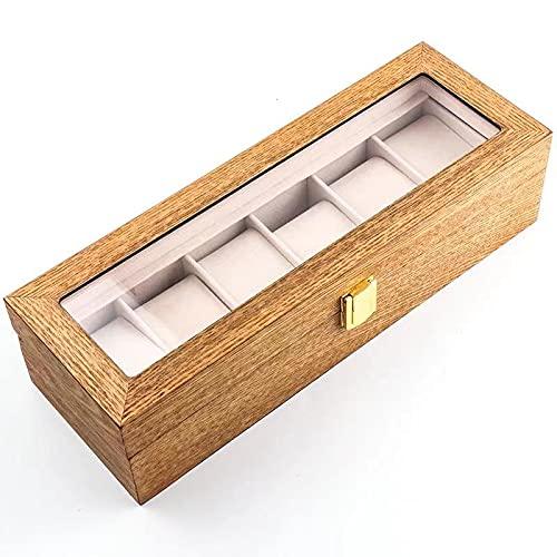 HBNNBV Cuero Reloj Caja 6 Rejillas Retrol Reloj Caja de Madera Metal Lock Soporte de Vidrio Titular Organizador Caja de Almacenamiento para Relojes Joyero Cajas de exhibición Regalo Guardar