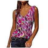 Camiseta de tirantes para mujer, cuello en U, sin mangas, plisada, camiseta de tirantes morado M