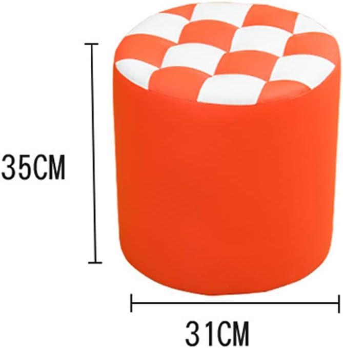 Tabouret bas cylindrique en cuir PU en bois massif, antidérapant, multifonction, coloré, facile à changer, tabouret de hauteur, 28/35 cm violet-B Vert-b.