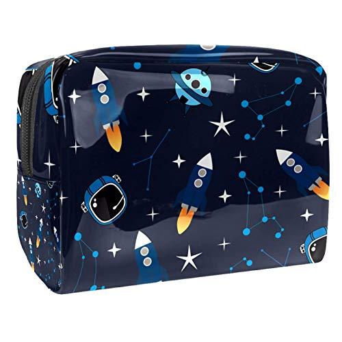 Bolsa de maquillaje portátil con cremallera bolsa de aseo de viaje para las mujeres práctico almacenamiento cosmético bolsa lindo cohete de dibujos animados