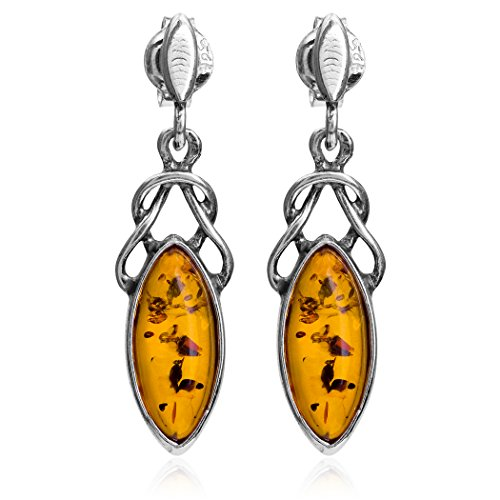 Ian and Valeri Co. Amber Sterling Silver Celtic Marquise Shape Stud Earrings