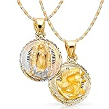 14K Tri Color Gold Diamond Cut Double Side Stamp Virgin Mary Baptism Charm Pendant with 1.5mm Valentino Chain Necklace - 16'