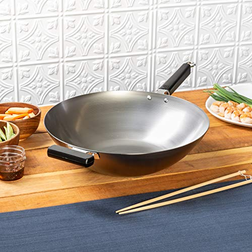 Joyce Chen 22-0060, Pro Chef 14-Inch Flat Bottom Wok uncoated Carbon Steel