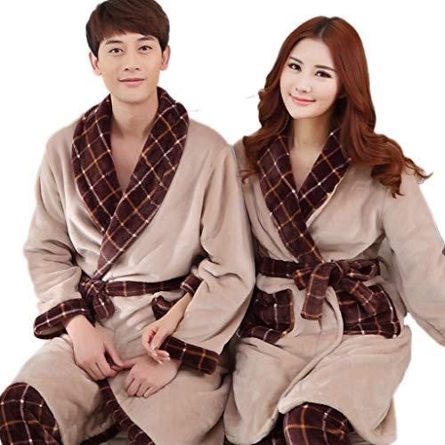 Unbekannt LINGZHIGAN Dicker Flanell-Paar-Nachthemd-Klage-weiblicher Langer Bademantel-Männer Pyjamas Coral Velvet Robe (Design : Women, größe : M)