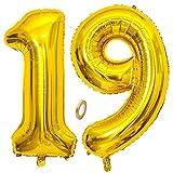 Jrzyhi Globos con número 19 para cumpleaños, globos dorados gigantes, número 19, helio, número XXL 19, número 19, globos gigantes para cumpleaños, bodas, fiestas, decoración, 100 cm