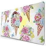 Alfombrilla de ratón de goma de anime con patrón de acuarela, helado, para oficina, juegos, impermeable, antideslizante,...