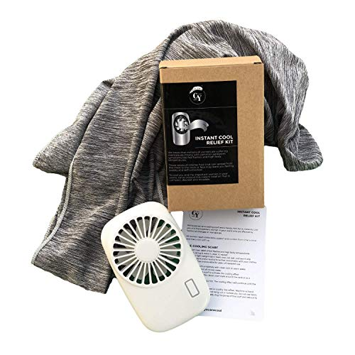 Cool You Menopause Hot Flash Relief Kit Includes Cooling Scarf & Personal Fan - Discreet & Reusable Menopause Gift - Helps Excessive Sweating & High Body Temps - Personal Cooling Device Wearable