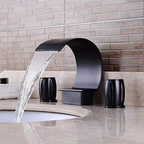 MGWA Grifo Lavabo Negro Antiguo Lavabo Lavabo Caliente Y Frío Doble Doble Grifo Cuarto De Baño Tres Agujeros Grifo De Tres Piezas (Color : Black)