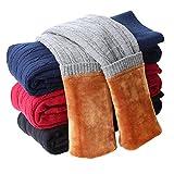 Tengo Girls Winter Thick Leggings Fleece Lined Warm Kids Leggings Pants(Black,130)