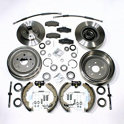 Bremsen komplett Set + Radlager + Bremsschläuche vorne + hinten