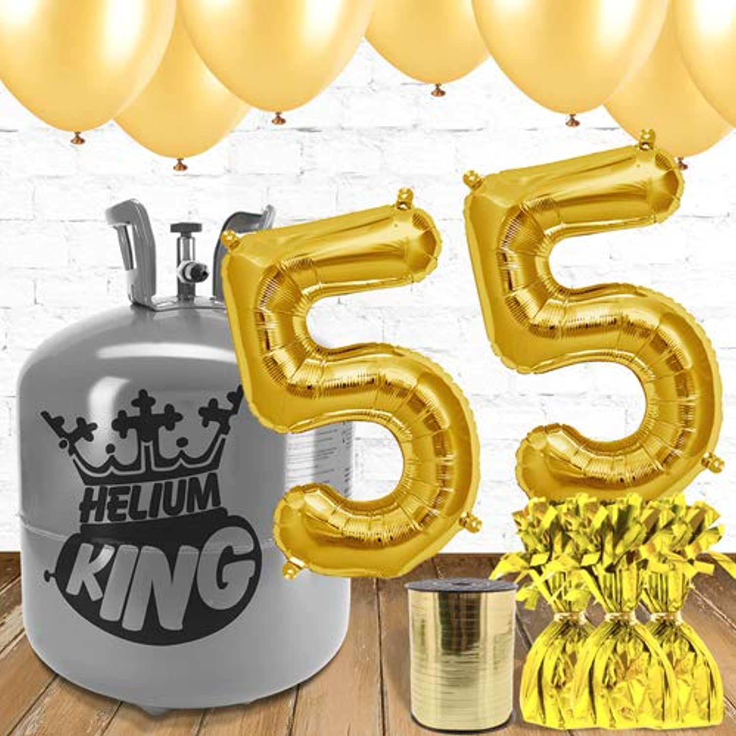 55th Birthday gold Balloons and helium gas package