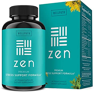 Zen Anxiety and Stress Relief Supplement - Premium Herbal Formula Supporting Calm Mood with Ashwagandha, L-Theanine, Rhodiola - for Occasional Anxiety - 60 Ct from WellPath Solutions