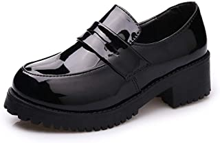 [BARYPORY] 女の子 学生靴 ローファー パンプス レディース シンプル 太ヒール 厚底 コスプレ シューズ 黒 おしゃれ かわいい 歩きやすい カジュアル 通学