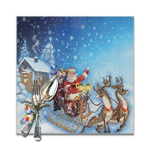 Strawberryran Weihnachts-Weihnachtsmann im Schlitten mit Rentier und Spielzeug im verschneiten Nordpol-Märchen-Fantasy-Bild Marineblau 12 x 18 im 4er-Set