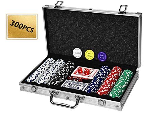 4everwinner Poker Chip Set 300PCS Poker Chips 11.5 Gram Casino Chips for Texas Holdem Blackjack Gambling, 2 Decks of Playing Cards Poker Set with Aluminum Case