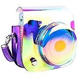Funda para cámara Fujifilm Instax Mini 9, Mini 8+, Mini 8 y Mini 8, con correa para el hombro y bolsa para accesorios fotográficos, color morado brillante