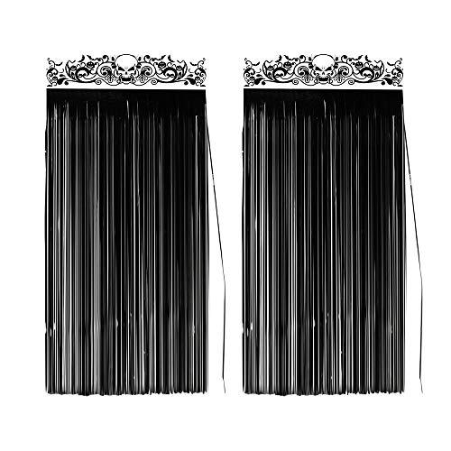 KUUQA 2 Pack Halloween Tür Vorhänge Schwarz Glänzende Folie Partydekorationen Eingangstür Vorhang Dekoration, 3,3x6,5 fuß Jeder Vorhang