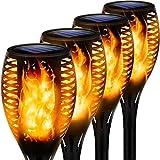 MFFACAI Paquete de 4 Luces Solares de Antorcha, 12 Luces LED Inalámbricas de Estaca de Llama, Luz de Camino Impermeable con Llama Parpadeante, Decoración para Exteriores, Iluminación de Paisaje