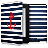 kwmobile Hülle kompatibel mit Amazon Kindle Paperwhite - Kunstleder eReader Schutzhülle Cover Case (für Modelle bis 2017) - Anker Streifen Vintage Rot Dunkelblau Weiß