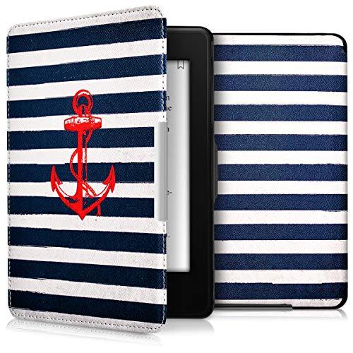 kwmobile Schutzhülle kompatibel mit Amazon Kindle Paperwhite - Hülle Kunstleder eReader (für Modelle bis 2017) - Anker Streifen Vintage Rot Dunkelblau Weiß