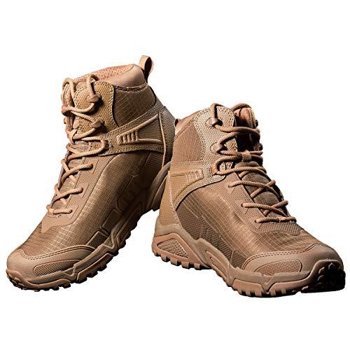 FREE SOLDIER Botas de Escalada Impermeable Tacticas Hombre Botas Militares Transpirables Botas de Seguridad Hombre Trabajo Ligeros Zapatos de Montaña Trekking(Marrón-Impermeable,41EU)