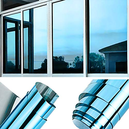 TTMOW Vinilo Pet Película Adhesiva Lámina de Espejo para Ventanas Cristal Unidireccional Protector de Privacidad Anti 99% UV y Anti 85% IR para Hogar y Oficina (Azul y Plata, 40 * 400cm)