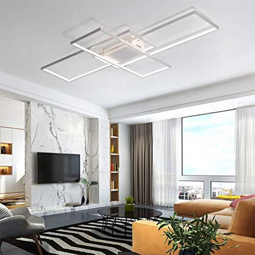LED Deckenleuchte Wohnzimmer Lampen Dimmbar Deckenlampe Modern Eckig Design Decke Leuchen Aluminium Lampenschirm Pendelleuchte Wohnzimmerlampe Schlafzimmerlampe Esszimmerlampe Küchelampe (Weiß)