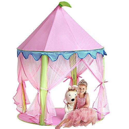 Sonyabecca Mädchen Prinzessin Schloss Zelt, Rosa Spielhaus für Mädchen Pop up Zelt Lesesaal