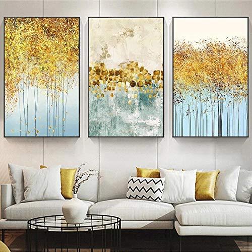 Abstrakte Goldblätter Pflanze Bild Wandplakat Modern Style Leinwanddruck Goldene Malerei Art Decor 40x60cmx3 Ungerahmt
