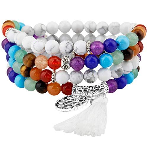 KYEYGWO 108 Gebet Mala Perlen Armband für Damen Herren, 6mm Tibetisch-buddhistischen 7 Chakra Heilstein Halskette für Unisex, Weiß Howlite Türkis
