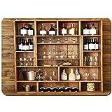 Alfombrilla De Baño Antideslizante Estanterías con Botellas de Vino con Vasos sobre Fondo de Pared de Madera Alfombra,Lavable a máquina