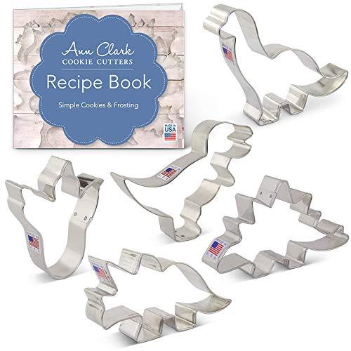 Ann Clark Cookie Cutters Juego de 5 cortadores de galletas dinosaurio con libro de recetas, triceratops, estegosaurio, tiranosaurio, brontosaurio y huella de dinosaurio - Acero fabricado en EE.UU.