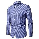 Camisas para Hombres, Camisas Informales De Algodón De Manga Larga para Hombres con Rayas Verticales,...
