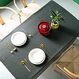 Pahajim Étanche PVC Nappe Couleur Unie Rectangulaire Simple Nappe Cuisine de la Maison Dîner Nappe de Table Pique-Nique Décoration de la Table (Noir, Carré, 140 x 140 cm, 4 sièges)