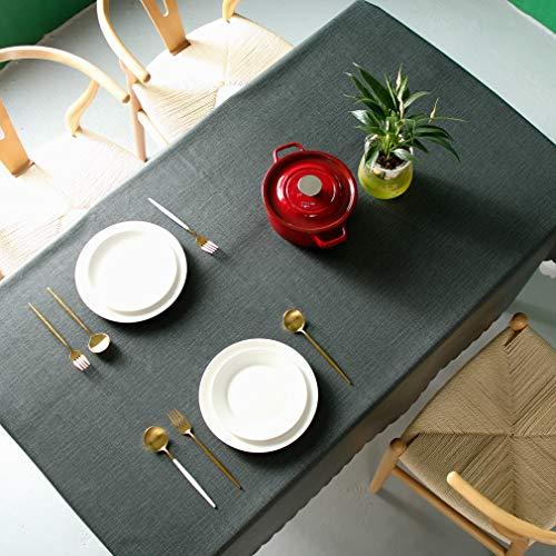 Pahajim Moderno Mantel de PVC Color Liso Mantel Impermeable Mantel Mesa Rectangular Antimanchas Tablecloths para (Negro, Rectangular/Oval,140x200cm,5-7 Asientos)