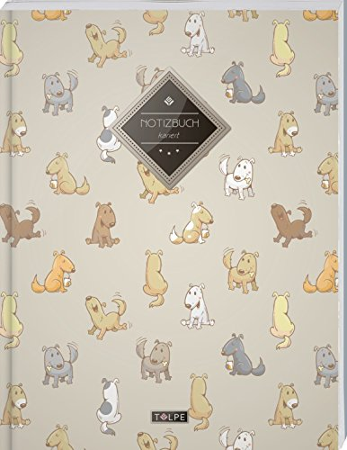 """TULPE Kariertes Notizbuch A4 """"C083 Verspielte Hunde"""" (140+ Seiten, Vintage Softcover, Doppelrand, Seitenzahlen, Register - Dickes Notizheft, ... Schulheft, Tagebuch, Kariertes Heft Nr 26)"""
