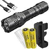 Nitecore P20iX 4000 Lumen USB-C Rechargeable Tactical Flashlight, 2X 21700 Batteries and LumenTac Battery Organizer